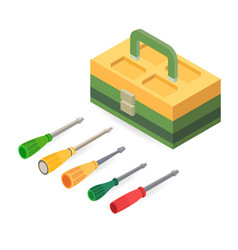 toolbox and screwdrivers isometric construction vector image
