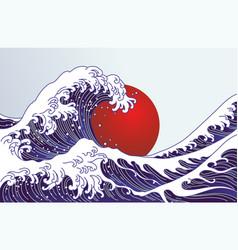traditional japan wave big red sun japan flag vector image
