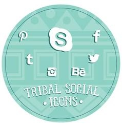 Tribal social icons vector