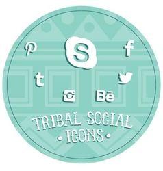 Tribal social icons vector