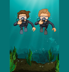 Two men scuba diving under the ocean vector