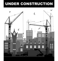 Under construction concept at building site in vector