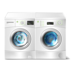 Washer and dryer with laundry inside vector
