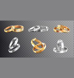 wedding rings transparent set vector image