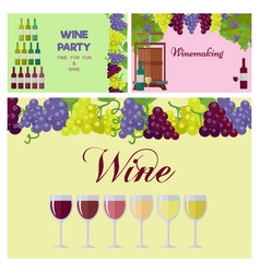 Wine party poster with glasses line and grapes vector