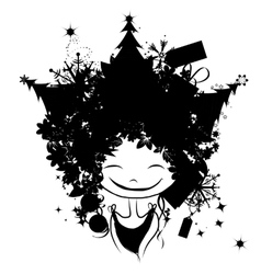 Christmas female portrait black silhouette for vector image vector image