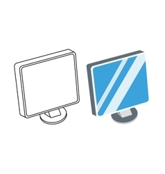 Computer monitor isolated vector image