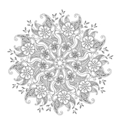 Monochrome Mendie Mandala with flowers and leaves vector image vector image