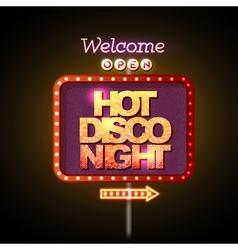 Neon sign hot disco night vector image vector image