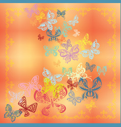butterfly set isolated on orange background vector image