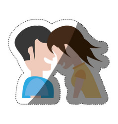couple laughing funny shadow vector image