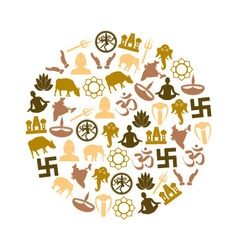 hinduism religions symbols set of icons in circle vector image vector image