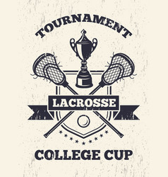 retro poster of lacrosse theme in sport college vector image vector image