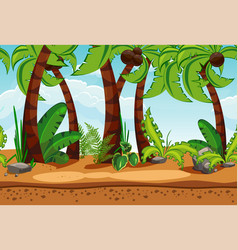 seamless beach landscape with palm trees vector image