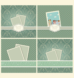 set of vintage colorful scrap booking template vector image