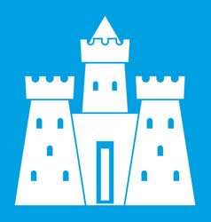 Ancient castle palace icon white vector