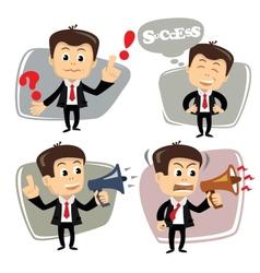 businessman in various poses uses megaphone vector image