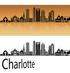 Charlotte skyline in orange vector image
