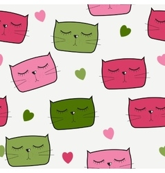 Cute Handdrawn Cat Seamless Pattern vector image vector image