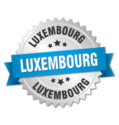 Luxembourg round silver badge with blue ribbon vector