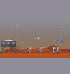 mars mission concept in flat vector image vector image
