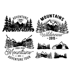 monochrome patterns landscape with mountains and vector image vector image