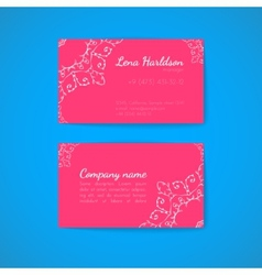 Pink Business Card Template with Decorative vector image vector image