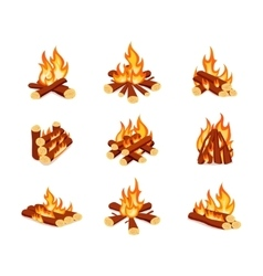 Set of campfires isolated on white background vector image vector image