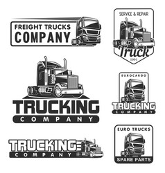 truck logo set service and repair black white vector image