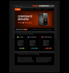 web hosting web page template vector image vector image