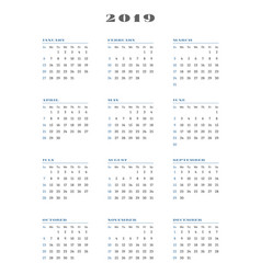 calendar for 2019 year week starts sunday vector image vector image