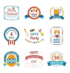 Holiday Celebration Emblems Set vector image vector image