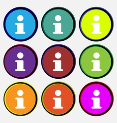 Information info icon sign nine multi-colored vector