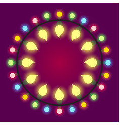 light bulb colorful holiday or casino lights frame vector image vector image