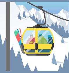 Snowboarder sitting in ski gondola and lift vector