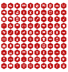 100 geography icons hexagon red vector