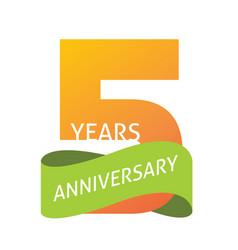 5 years anniversary celebrating logo icon vector