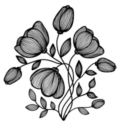 Abstract black-and-white flower lines vector