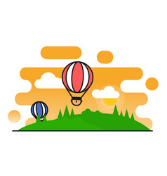 air balloons flying in sky flat line style vector image