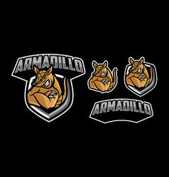 armadillo mascot logo design vector image
