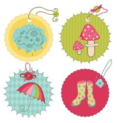 autumn cute tags - for scrapbook design invitation vector image