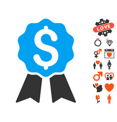 banking award icon with love bonus vector image