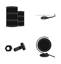 Barrels helicopter and other web icon in black vector