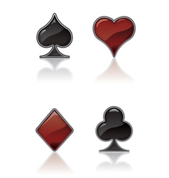 black and red card suit icons vector image