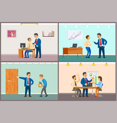 boss and employee interaction office work routine vector image