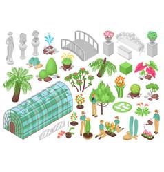 botanical garden icons set vector image