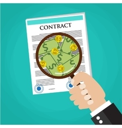 Cartoon businessman hand checking contract vector