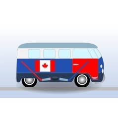 Cartoon minibus with Hockey Stick and Puck vector