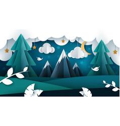 cartoon night landscape paper vector image