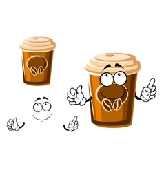 Cartoon takeaway coffee cup with lid vector